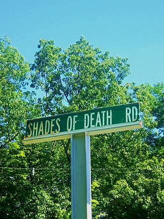 Shades of Death Road - Sign at southern end of Shades of Death Road, near Great Meadows, NJ
