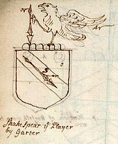 Drawing of a coat of arms with a falcon and a spear