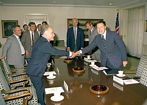 Yitzhak Shamir - Foreign Minister Shamir with US Secretary of Defense Caspar Weinberger, 1982