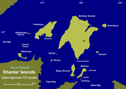 Map of the Shantar Islands. Medvezhy is the long, narrow island in the far left corner.
