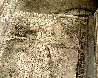 Ledger stone - Shroud monument, Norbury, Derbyshire
