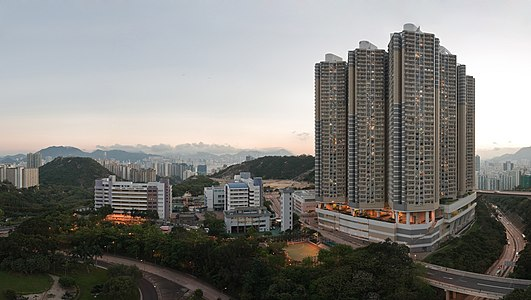 Panorama of southern part of Shun Lee, Kwun Tong, Hong Kong, taken at Civil Twilight.