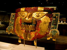 9-11th century Sican funerary mask in the Metropolitan Museum.