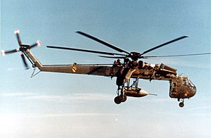 Armed helicopter - A CH-54 Tarhe of the US Army 1st Cavalry Division carrying a BLU-82/B bomb.