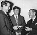 Sir Edmund Hillary and J.H. Miller receive IWC watches for the Commonwealth Trans-Antarctic Expedition, 1956.jpg