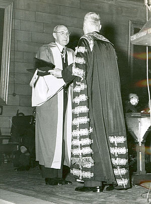 Norman Gregg - Dr. Gregg (left) receiving an honorary Doctor of Science degree from the University of Sydney in 1952
