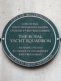 Site of the thatched house tavern and formation of the royal yacht squadron