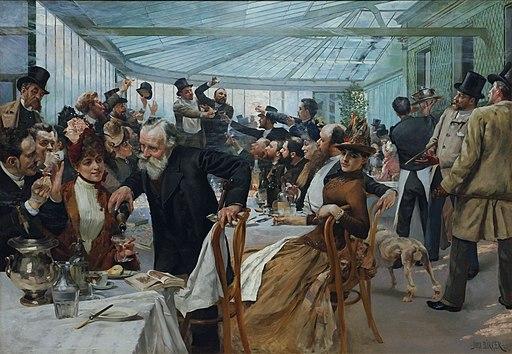 Skandinaviska konstnärernas frukost i Café Ledoyen - Fernissningsdagen 1886