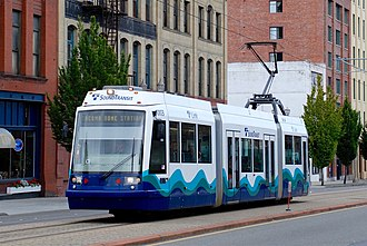 Link light rail - Image: Skoda 10T car 1003 of Tacoma Link on Pacific Ave (2008)