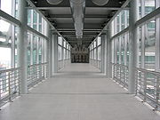 An inside view of the skybridge