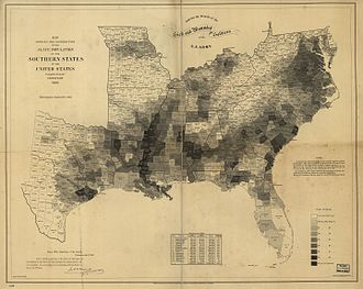 Black Belt (U.S. region) - Percentage of slaves in each county of the slave states in 1860.