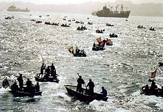 Navy of the Islamic Revolutionary Guard Corps - IRGC speedboats swarming in the Persian Gulf during Iran-Iraq War