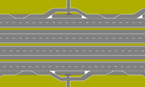 Local-express lanes - System with four roadways/carriageways, where access ways primarily connect with the outer roadways. Through traffic on the inner carriageways can flow without interruption.