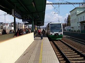 Die Länderbahn - RegioSprinter in Sokolov, since 2003 the southern end of the line