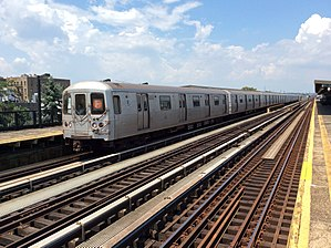 F (New York City Subway service) - A train made of R46 cars in F service at Avenue P, bound for Coney Island–Stillwell Avenue.