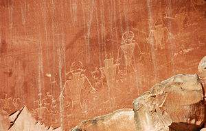 Fremont culture -  Fremont Indian petroglyphs in Capitol Reef National Park, southern Utah