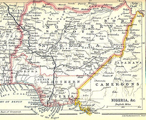 Southern Nigeria Protectorate - Southern and Northern Nigeria in about 1914 on a map by John Bartholomew & Co. of Edinburgh.