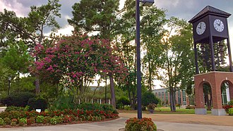 Coastal Carolina University - The Graham Family Bell Tower in the forefront of Spadoni Park.