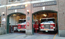 St. Johnsbury Fire Station with two fire engines
