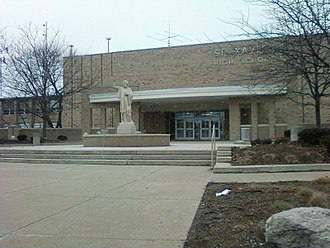 St. Xavier High School (Cincinnati) - The front entrance to St. Xavier was renovated in 1998.