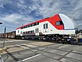 Stadler KISS EMU delivery en route to Caltrain on Provo Subdivision at 1700 South, Salt Lake City, May 2021.jpg