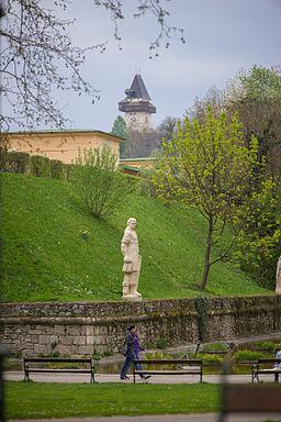 Stadtpark Graz - Aussicht auf Uhrturm