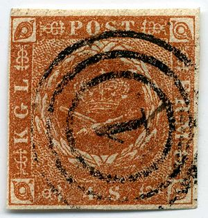 Postage stamps and postal history of Denmark - A 4 skilling stamp of 1854