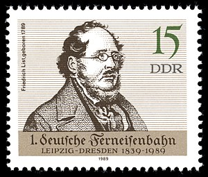 Friedrich List - DDR stamp commemorating List's birth and the establishment of the railway between Leipzig and Dresden (1989)