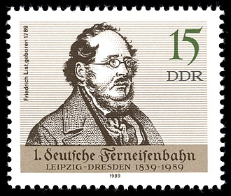 Friedrich List - 1989 East Germany stamp commemorating List's birth and the establishment of the railway between Leipzig and Dresden
