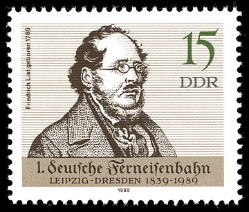 1989 East Germany stamp commemorating List's birth and the establishment of the railway between Leipzig and Dresden Stamps of Germany (DDR) 1989, MiNr 3238.jpg