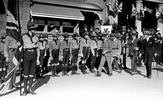 Royal visits to Australia - His Royal Highness Edward, Prince of Wales, inspects Boy Scouts, Warwick railway station, Queensland, 1920