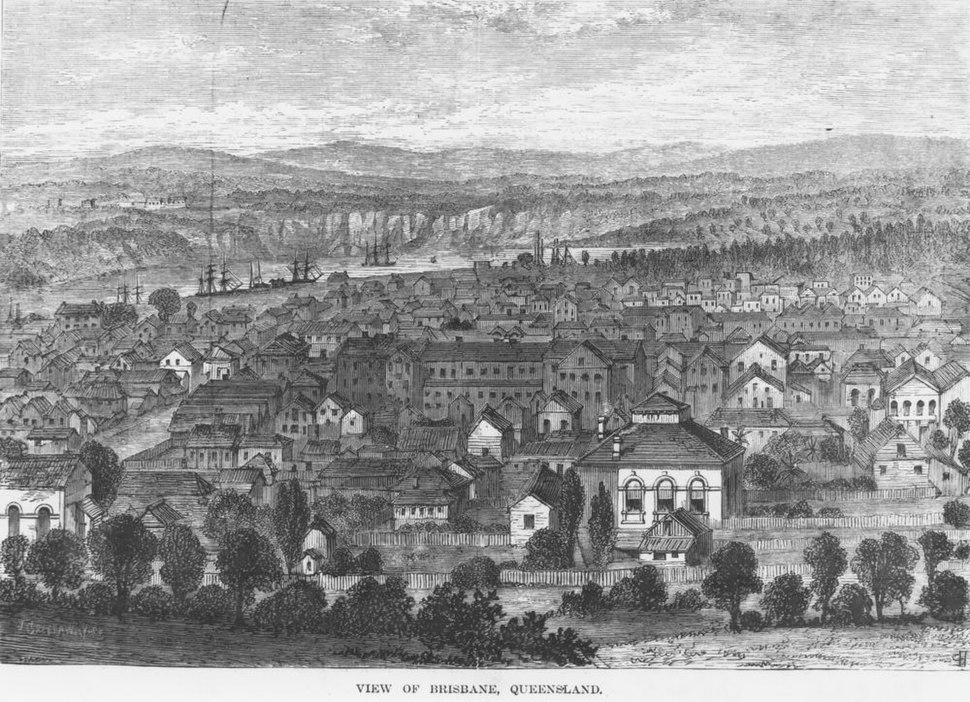 StateLibQld 1 292711 Woodcut of Brisbane in the 1870s