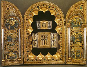 Romanesque art - Stavelot Triptych, Mosan, Belgium, c. 1156–58. 48×66 cm with wings open, Morgan Library, New York