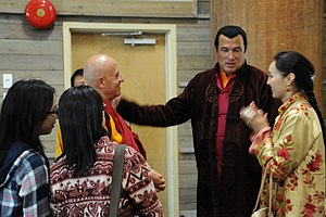 Steven Seagal - Seagal introduces his wife, Elle, to Matthieu Ricard (January 2, 2008).