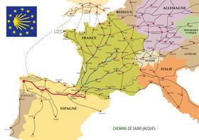 Carte montrant les chemins contemporains en Europe pour se rendre à Saint-Jacques-de-Compostelle.