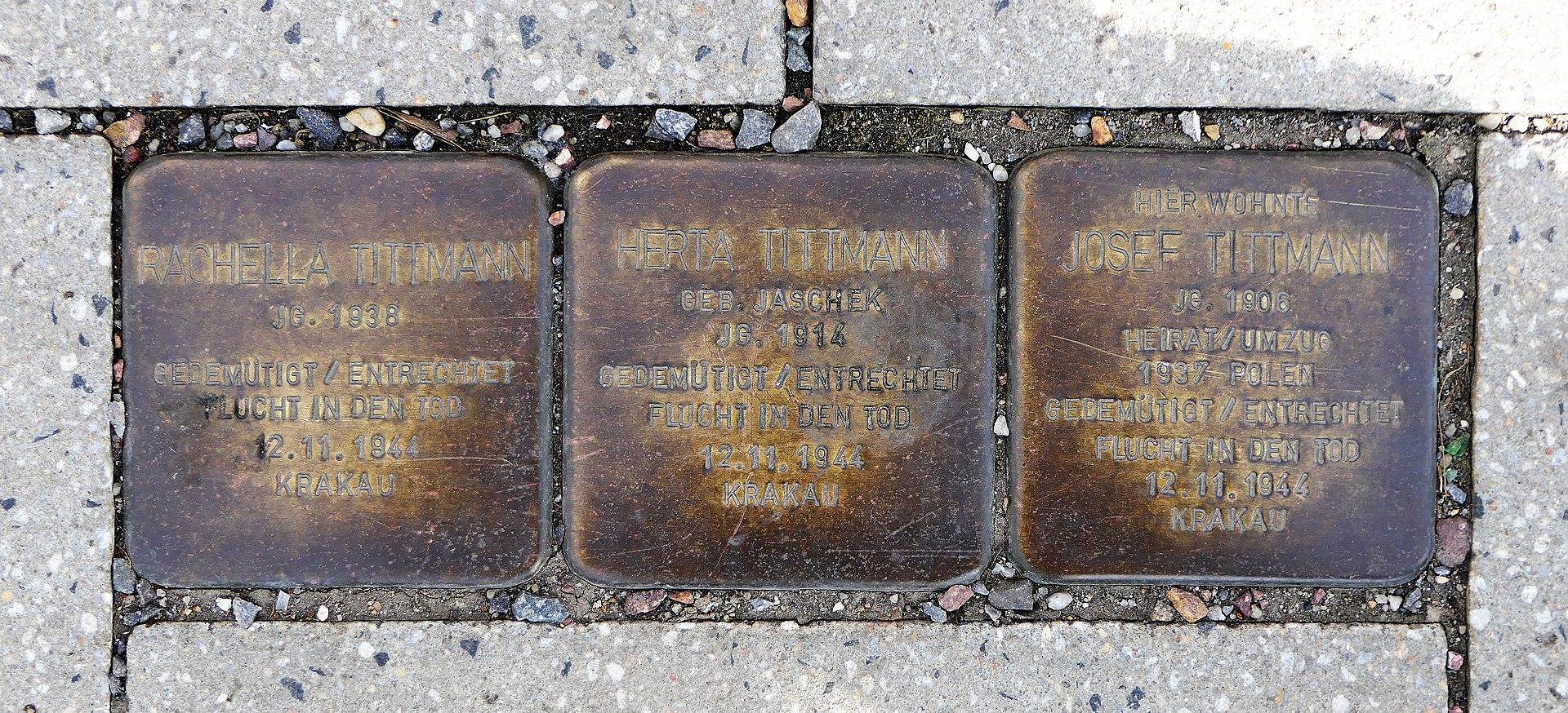 Stolpersteine für Familie Tittmann, Annenstrasse-Reitbahnstrasse, Chemnitz.JPG