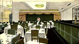 """Stork Club - Postcard illustrating the """"Blessed Event"""" room for private parties."""