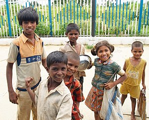 Street children in India - Street children at a railway station in Medak district, Andhra Pradesh.