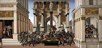 Overthrow of the Roman monarchy - A 16th-century painting by Sandro Botticelli, depicting the rape of Lucretia and the subsequent uprising.