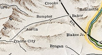 Sumpter Valley Railway - Route in 1931