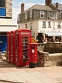 Swanage, postbox No. BH19 229 and phones, Institute Road - geograph.org.uk - 1365198.jpg