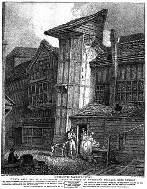 Grub Street - A late 18th-century illustration of a property on Sweedon's Passage, Grub Street