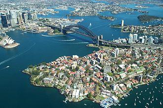 Kirribilli House - Sydney Harbour from the air, showing Kirribilli House on the point on the left