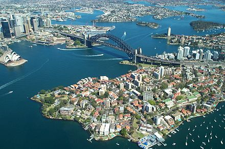 Sydney Harbour from the air, showing the Opera House, the CBD, Circular Quay, the Bridge, the Parramatta River, North Sydney and Kirribilli in the foreground Sydney Harbour Bridge from the air.JPG