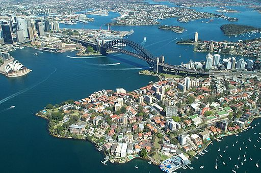 Sydney Harbour Bridge from the air - By Rodney Haywood [see page for license], via Wikimedia Commons