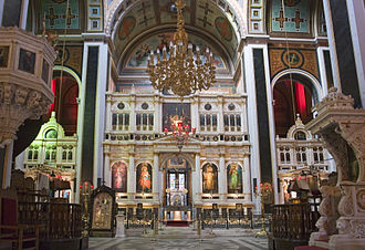 Syros - Inside the Cathedral of Saint Nicholas in Ermoupolis, patron saint of Syros.