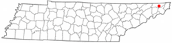 Location of Bluff City, Tennessee