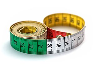 Tape measure Flexible ruler used to measure size or distance