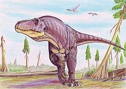 Reconstitution d'un tarbosaure vivant, dans un paysage humide de la fin du Crétacé, en Mongolie.