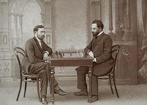 Siegbert Tarrasch - Siegbert Tarrasch and Mikhail Chigorin. Saint Petersburg, 1893
